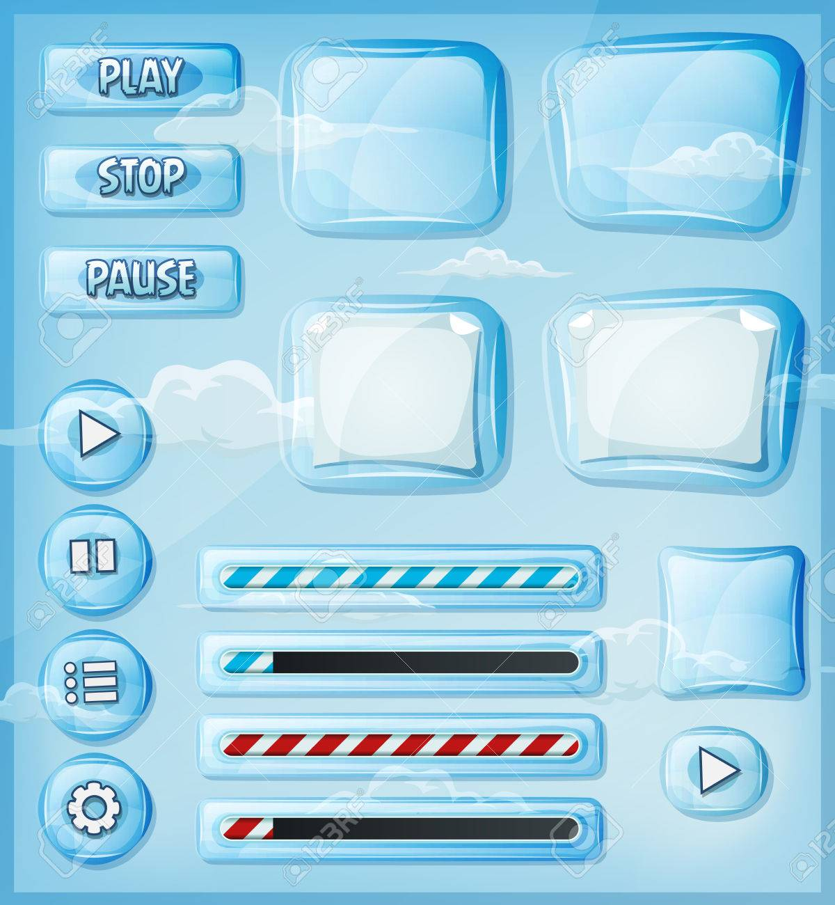 See Through Glass Illustration Of A Set Of Various Cartoon Design Ui Glass And
