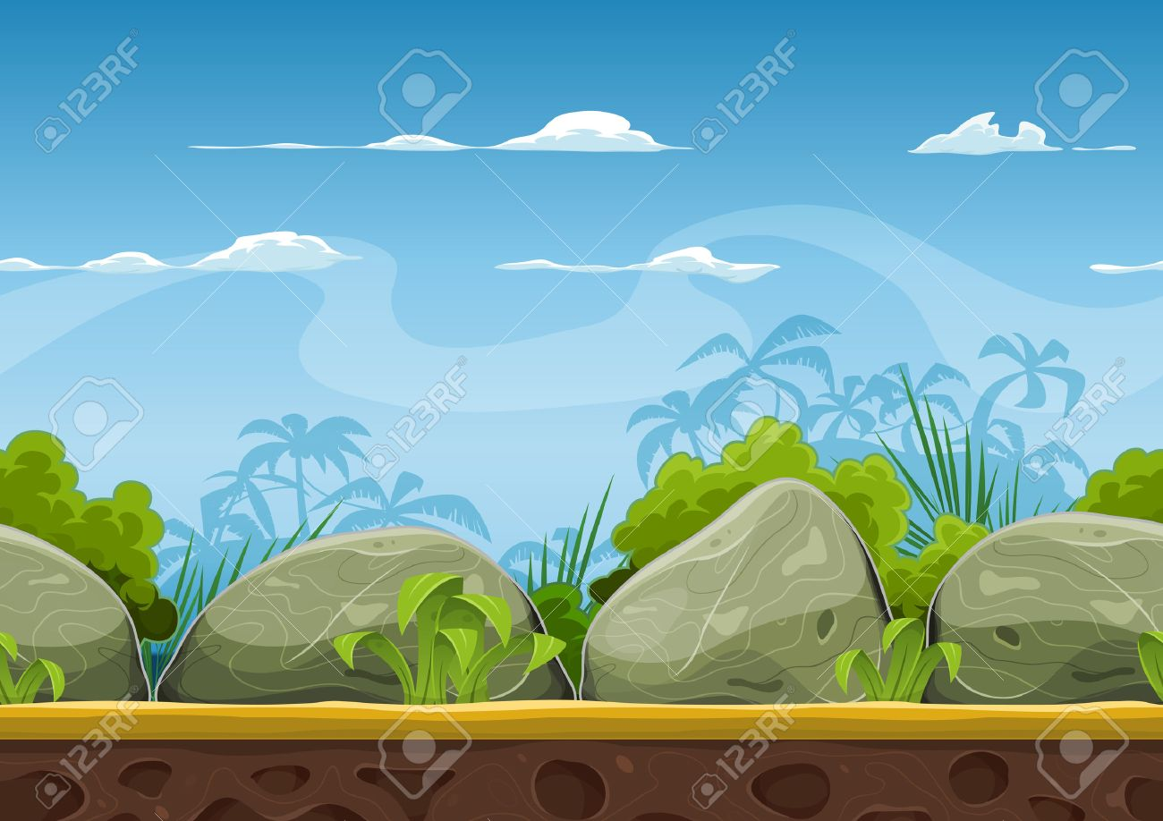 Illustration of a cartoon seamless summer tropical beach ocean background with palm trees, coconuts, boulders, stones for ui game - 39637629
