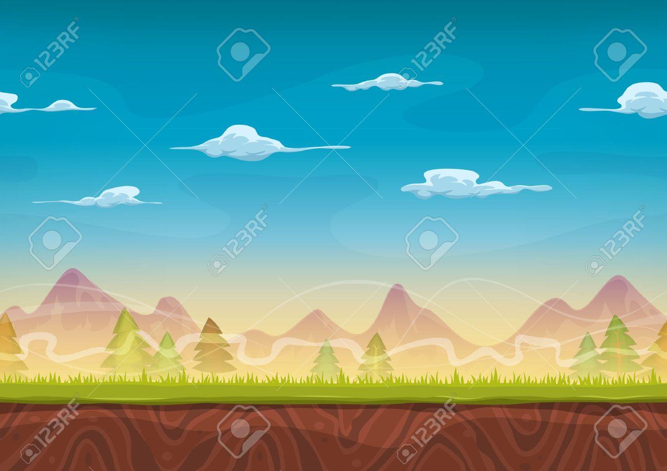 ui のゲームのための草と松の木と漫画シームレスな山の背景のイラスト