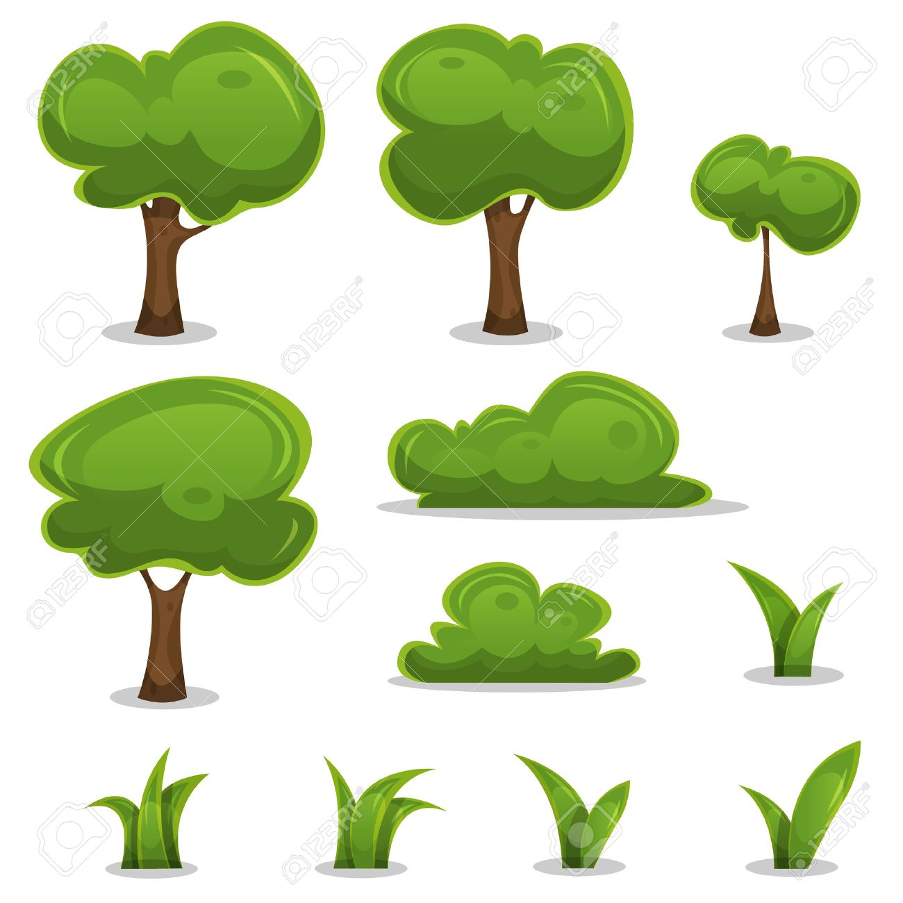 Illustration of a set of cartoon spring or summer little trees and green icons, with bush, hedges and blades of grass for ui game - 40600922