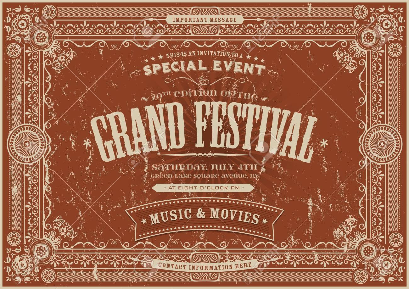 Illustration Eines Retro Vintage Horizontal Festival ...