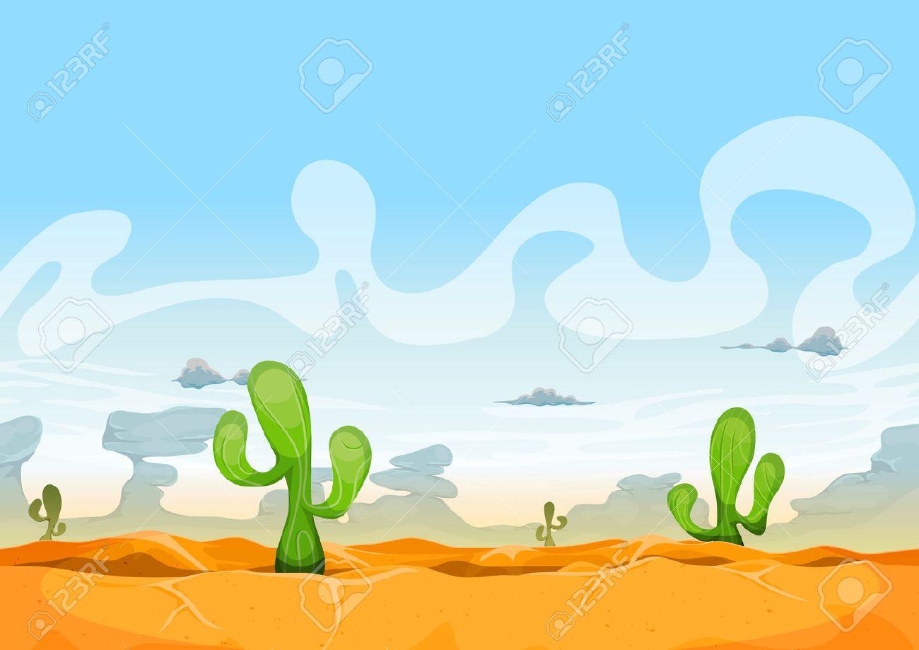 Illustration of a seamless desert landscape background in the sunshine for ui game - 41242147