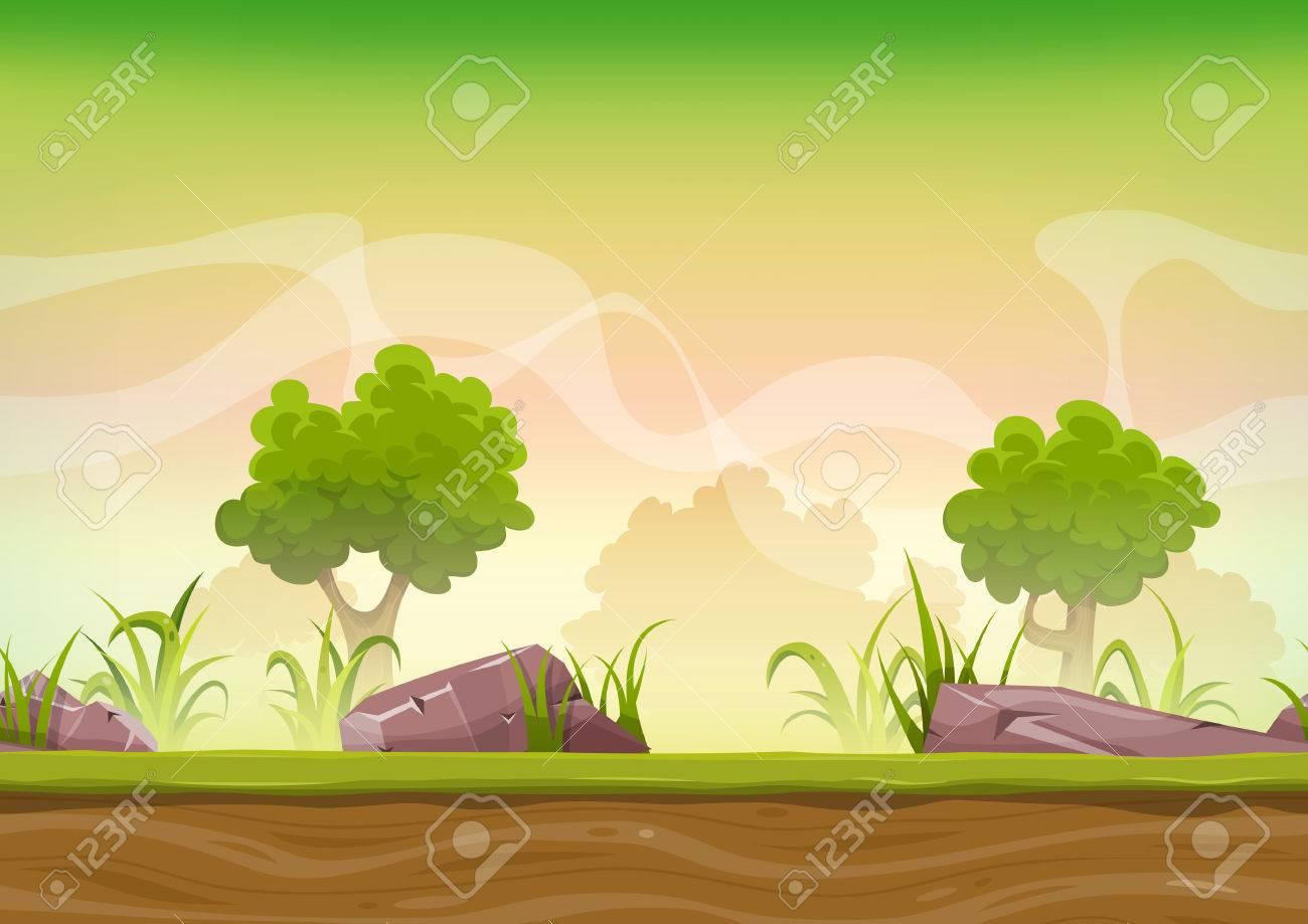草、岩や ui のゲームのための木と漫画のシームレスな緑の自然の森の