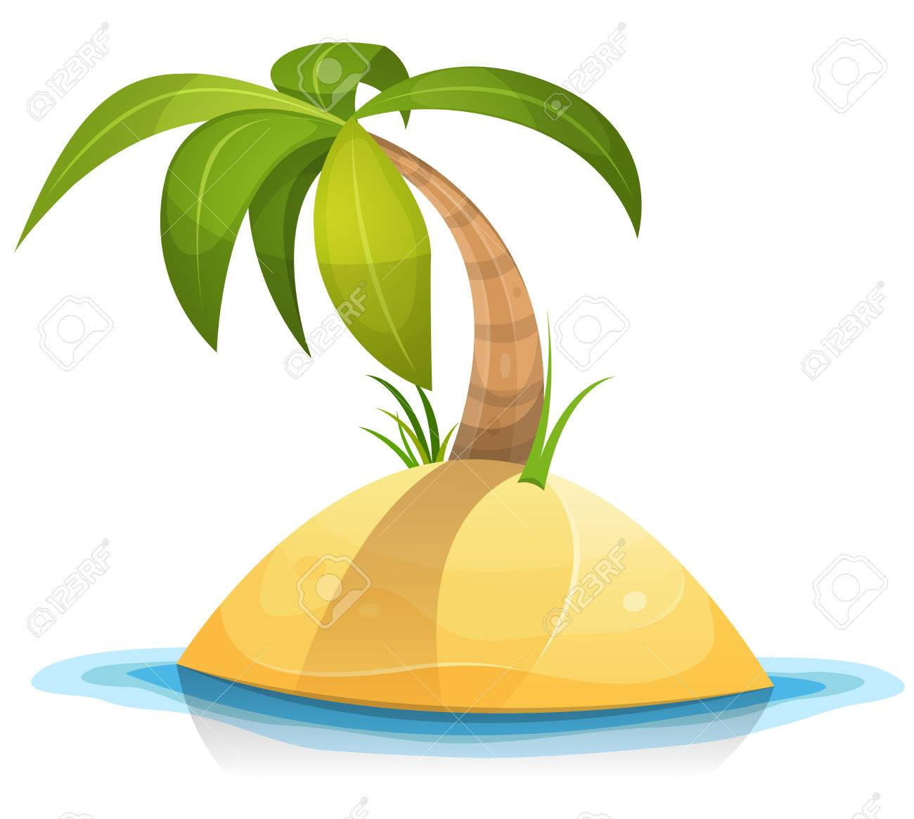 illustration of a cartoon tropical palm tree or coconut on little