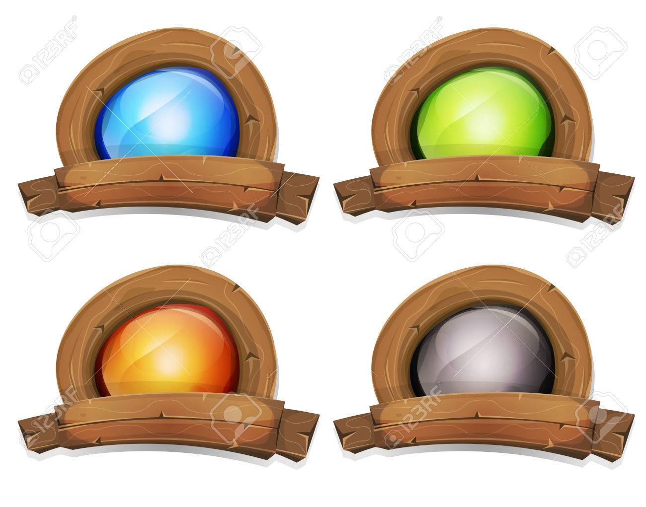 Illustration of a cartoon design wooden badge and banner with enlightened screen inside, for farm and agriculture business or ui game - 44226466
