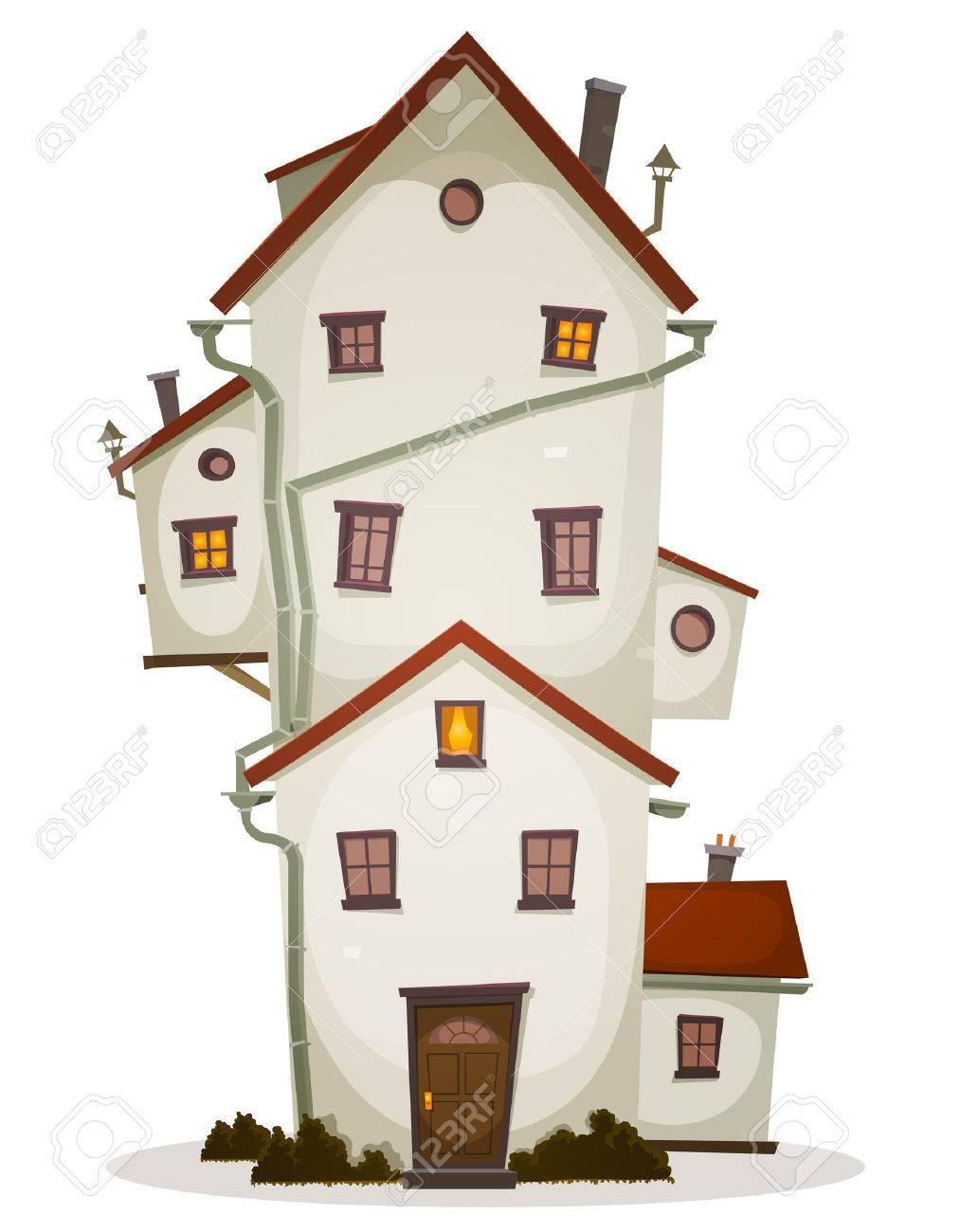 Illustration Of A Cartoon High Big Funny House Castle Or Manor - Big cartoon house