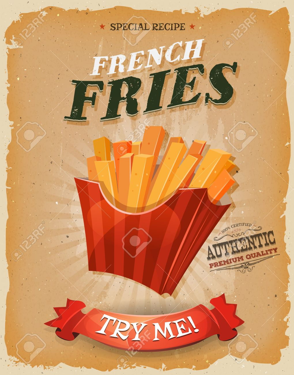 Illustration of a design vintage and grunge textured poster, with french fried potatoes icon, for fast food snack and takeaway menu - 45644236