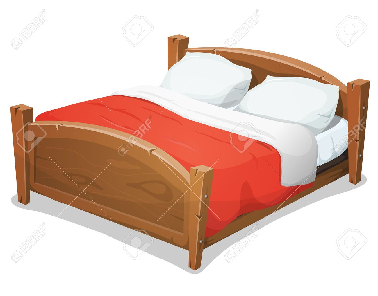 of a cartoon wooden double big bed for couples with pillows and red blanket stock