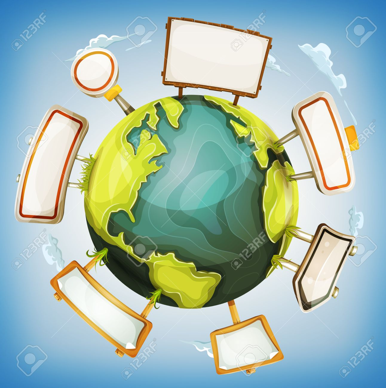 Illustration of a cartoon design 360 degree earth planet globe with road and wood signs elements around - 47620266
