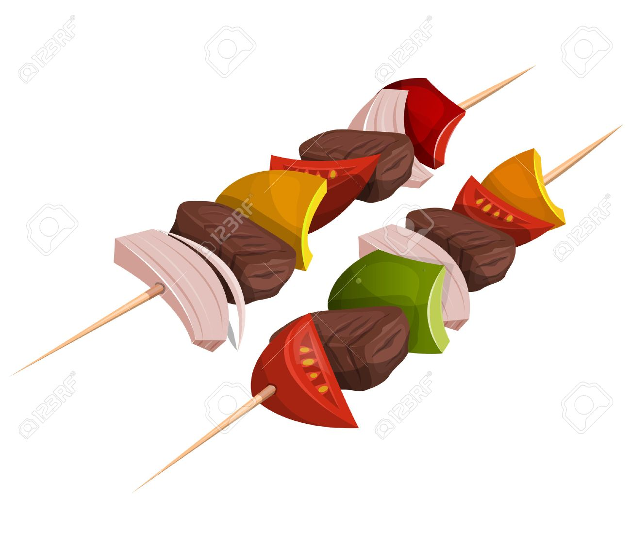 Illustration of appetizing cartoon fast food kebab skewers icon, with meat, tomatoes, onions, bell peppers for bbq party and takeout restaurant - 47868914