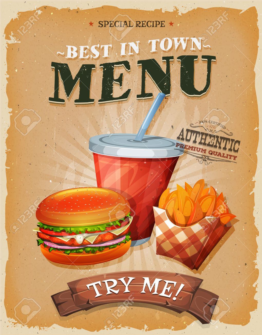 Illustration of a design vintage and grunge textured poster, with burger, cup of soda to drink, and french fries icon, for fast food snack and takeaway menu - 48776370