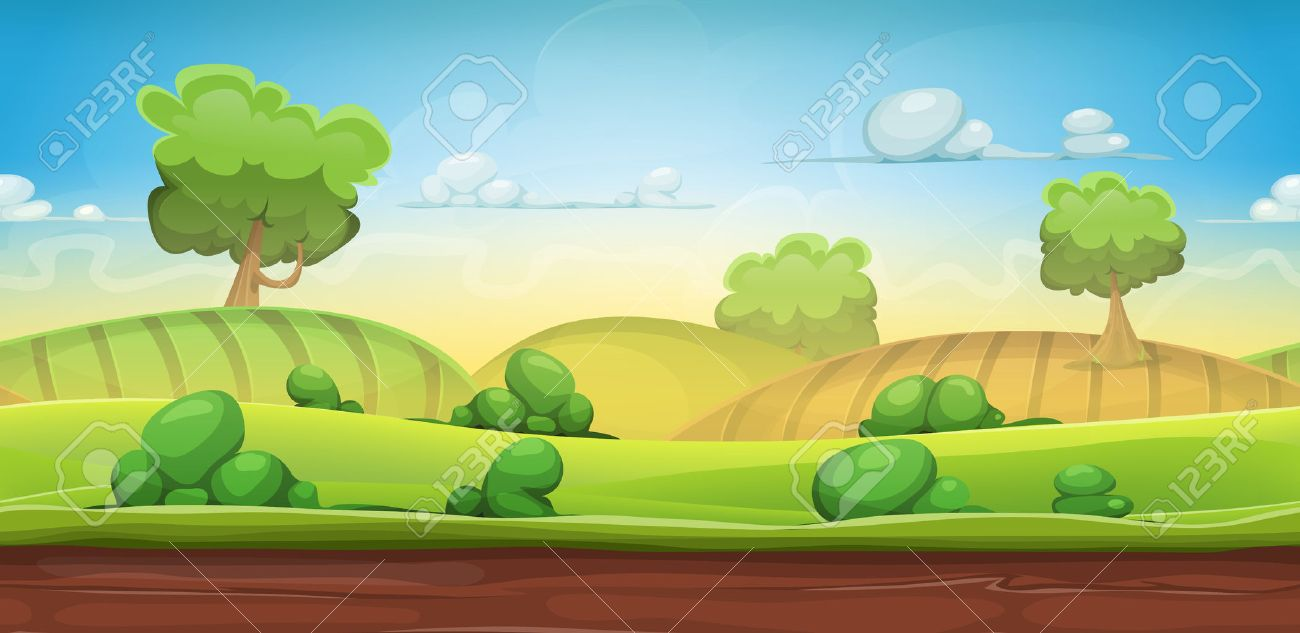 Illustration of a cartoon seamless green nature rural background with grass, pasture, meadows, fields and trees for ui game scenics - 51283358