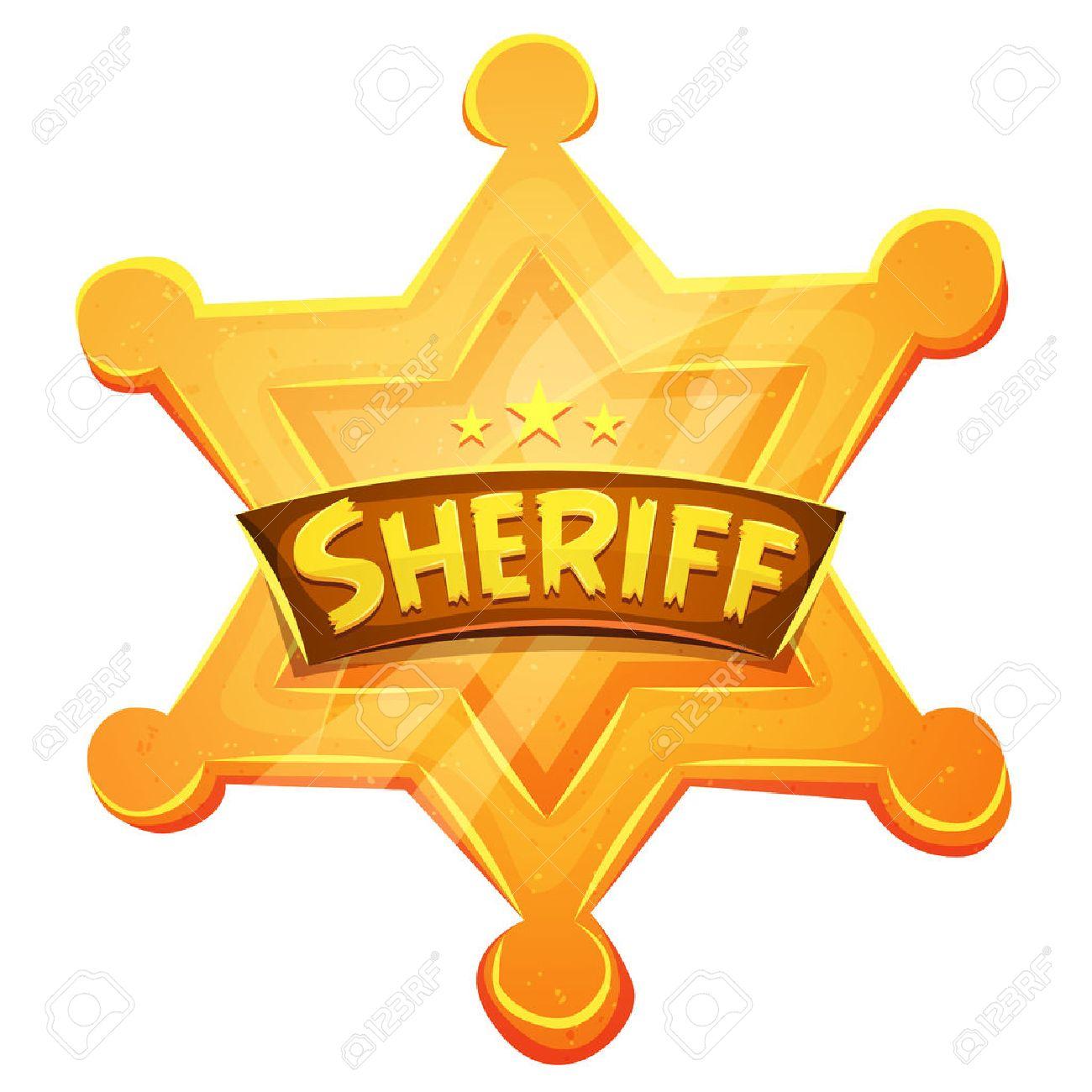 Illustration Of A Cartoon Funny Golden Sheriff Medal Symbol For