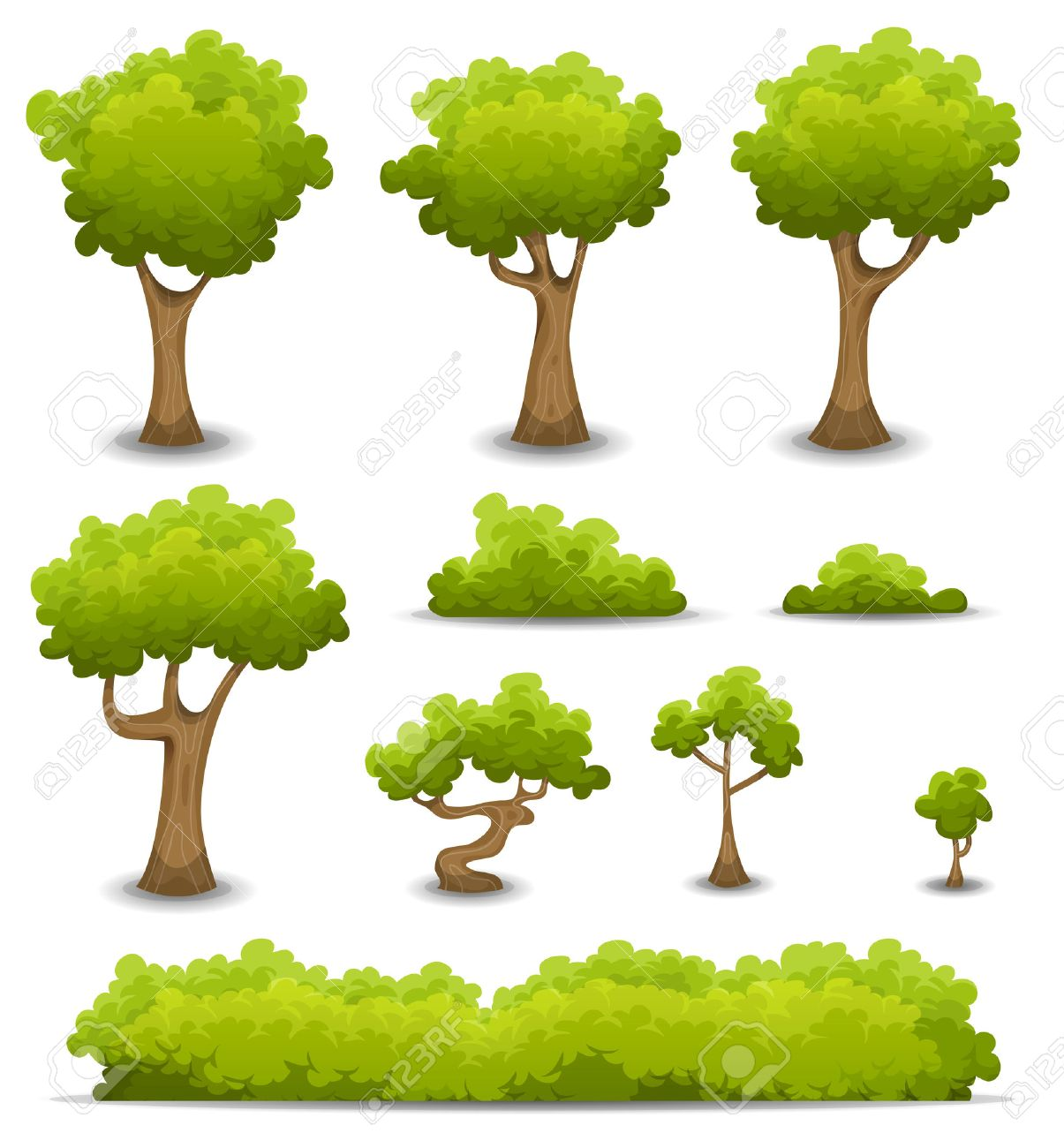 Illustration of a set of cartoon spring or summer forest trees and other green forest elements, bonsai, foliage, bush and hedges - 51362537