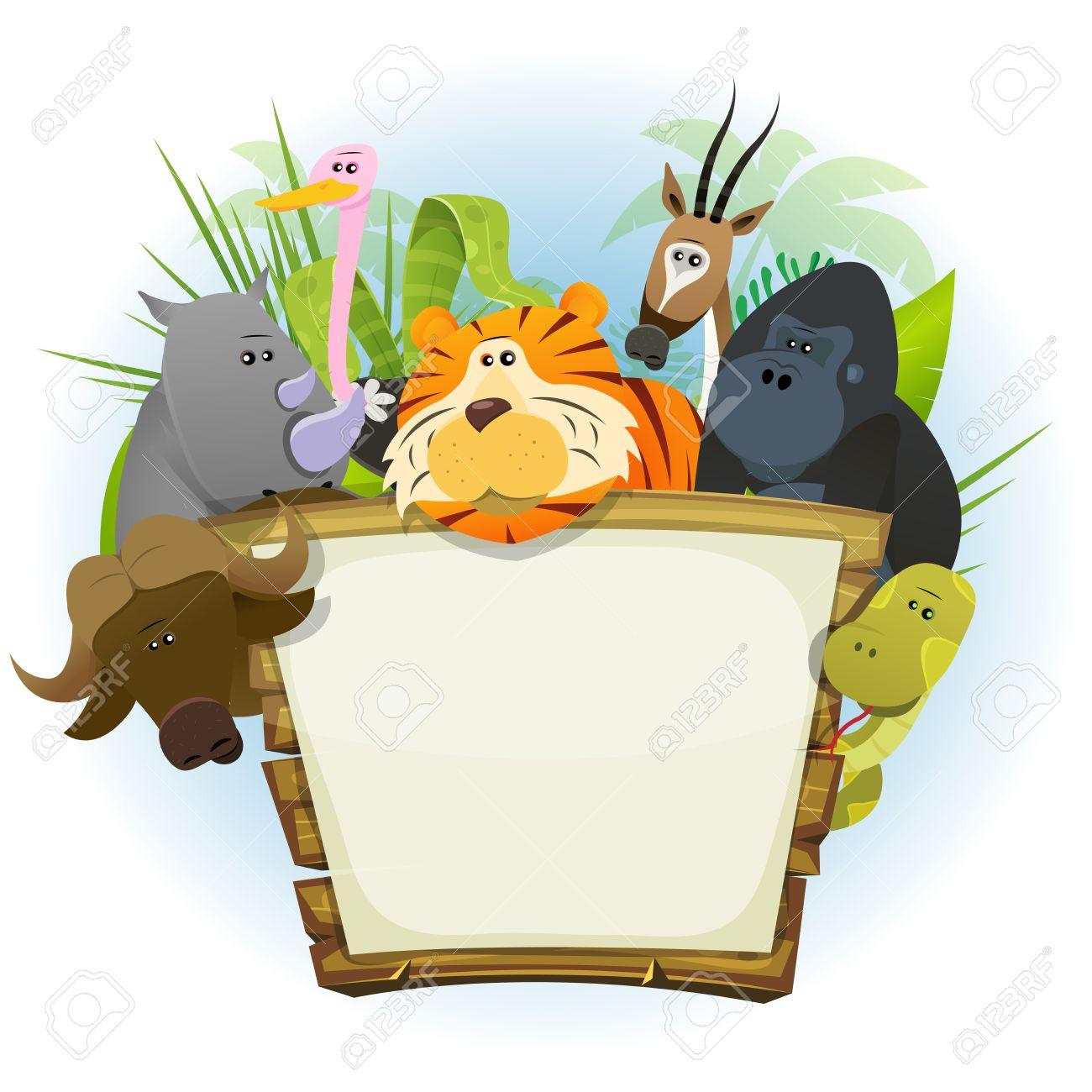 Fabuleux Illustration D'un Dessin Animé Mignon Animaux Sauvages Famille De  LO43