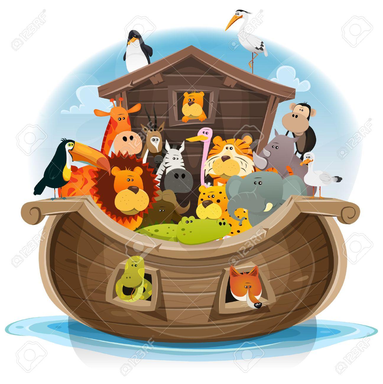 Illustration of cute cartoon group of wild animals inside noah's ark, with lion, elephant, giraffe, gazelle, gorilla monkey, ape, zebra, birds and others on ocean background - 52960527