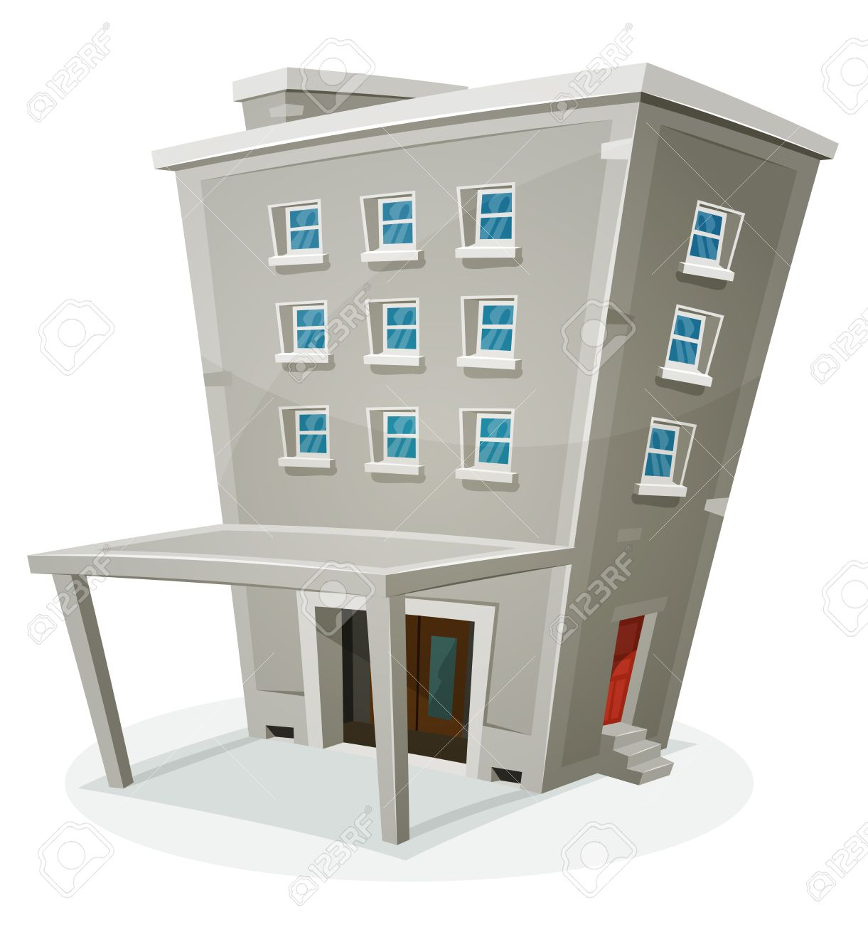 Illustration Of A Cartoon Stone Building House With Levels, Entrance, Hall,  Porch,