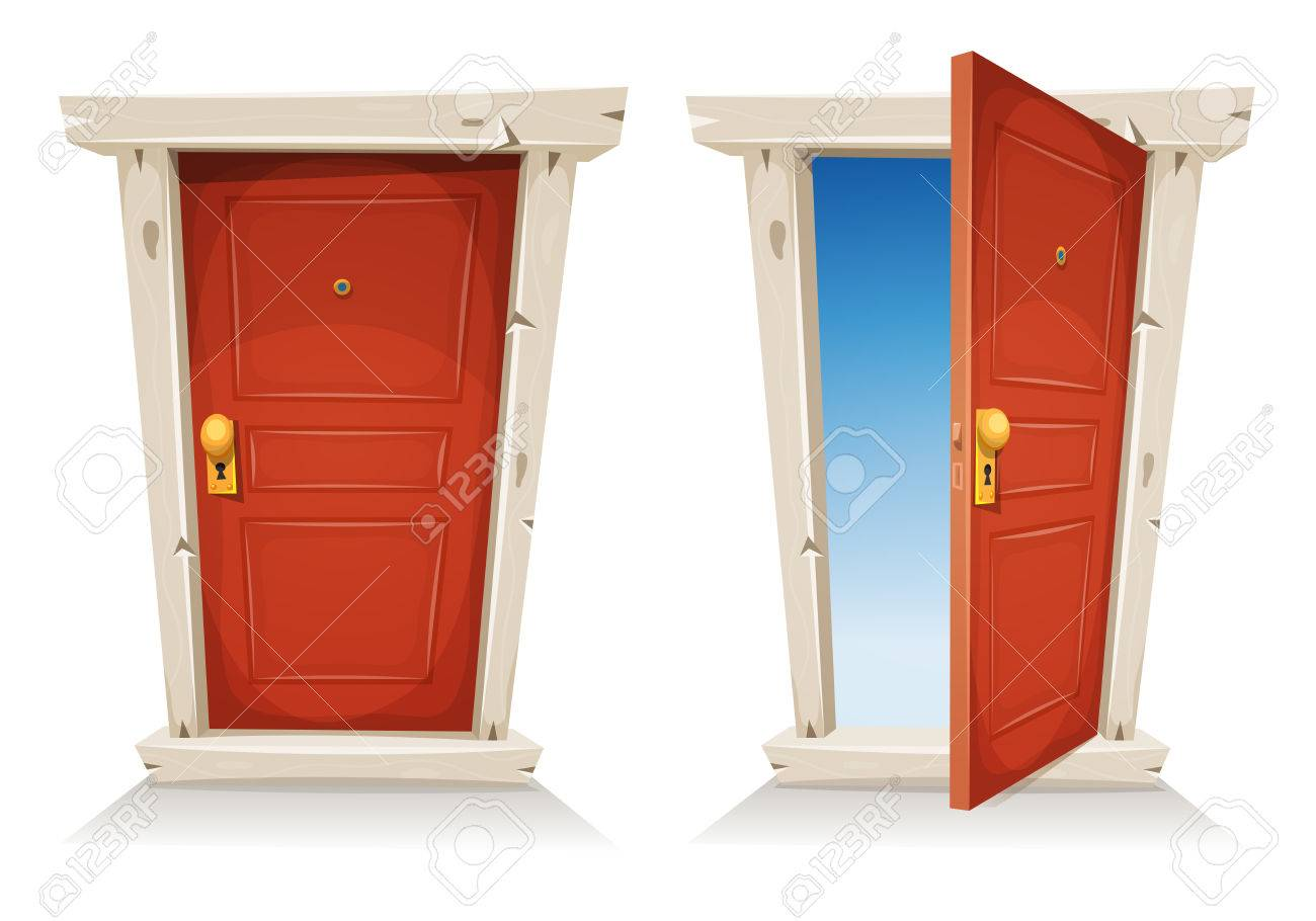 Illustration Of A Cartoon Entry Red Door Closed And Opened, On ...