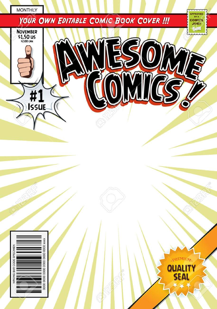 Illustration Of A Cartoon Editable Comic Book Cover Template ...