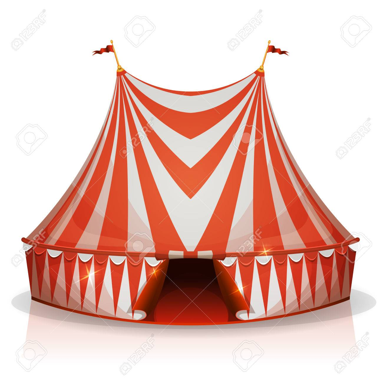 Illustration of a cartoon big top circus tent with red and white stripes for  sc 1 st  123RF Stock Photos & Illustration Of A Cartoon Big Top Circus Tent With Red And White ...