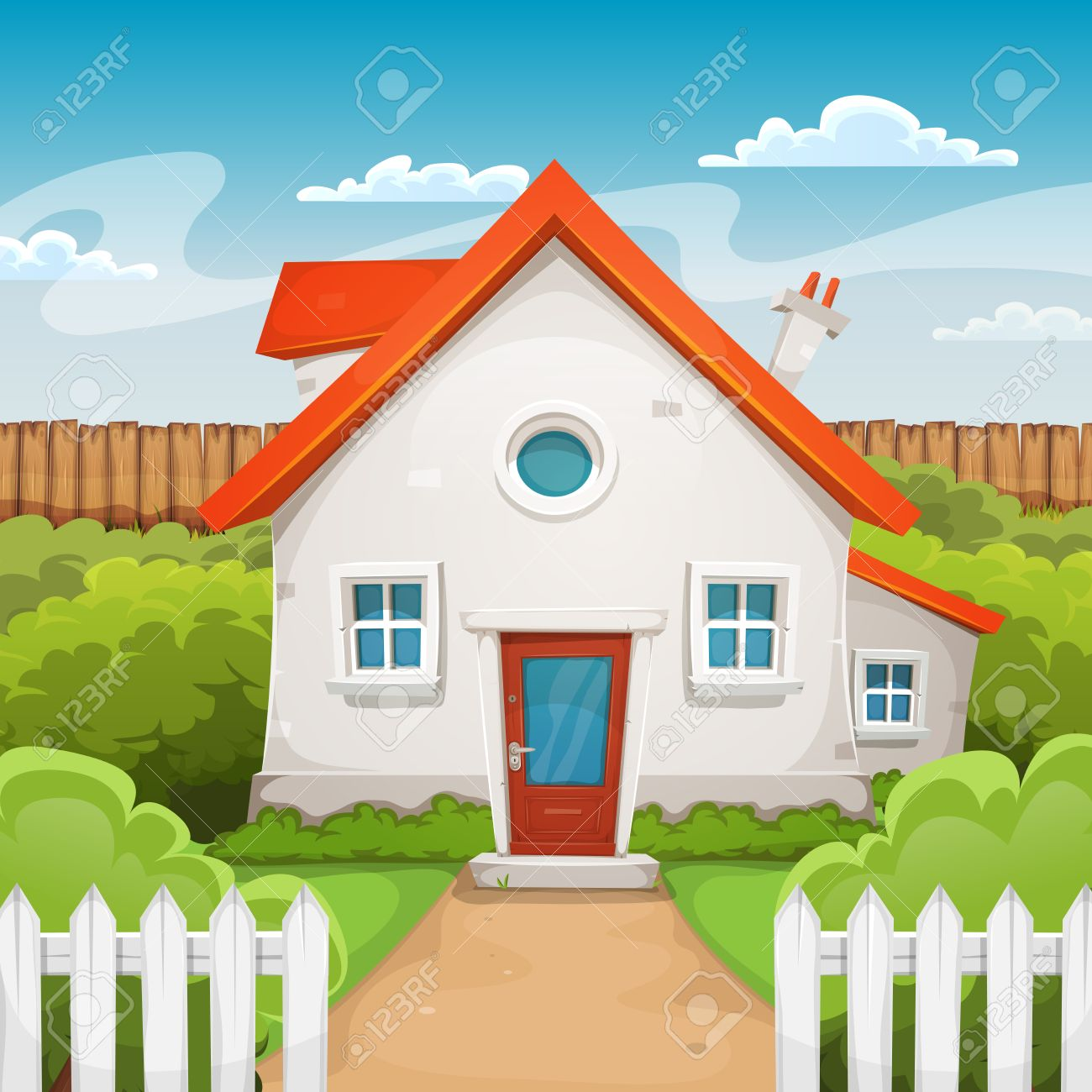 illustration of a cartoon domestic house in spring or summer