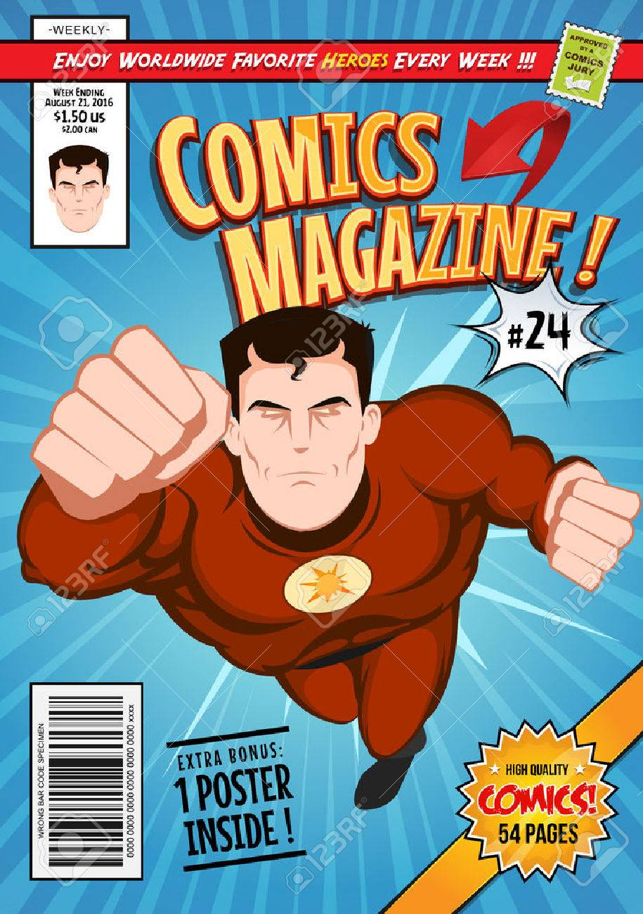 Illustration of a cartoon editable comic book cover template, with super hero character flying, titles and subtitles to customize, and wrong bar code and label - 64602027