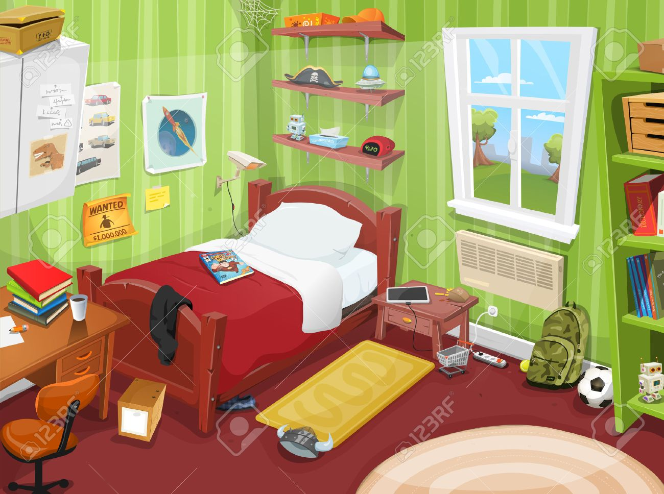 Illustration of a cartoon kid or teenager bedroom with boy or girl  lifestyle elements  toys. Illustration Of A Cartoon Kid Or Teenager Bedroom With Boy Or
