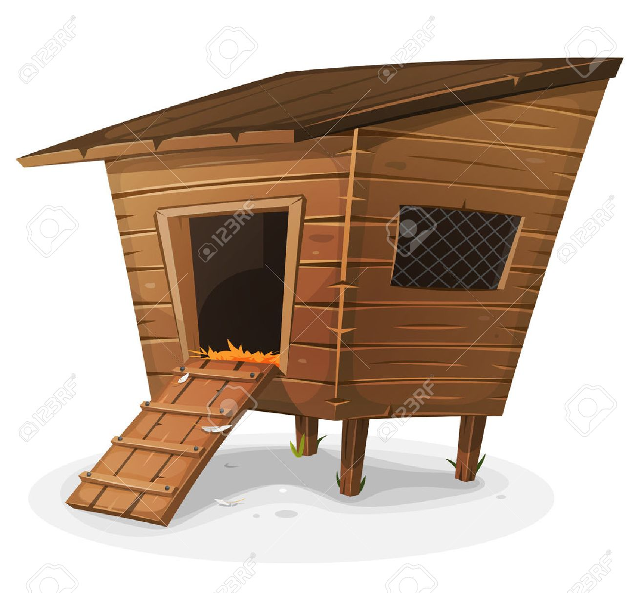 Illustration Of A Cartoon Wooden Farm Chicken Coop With Entrance And Little Window Grid