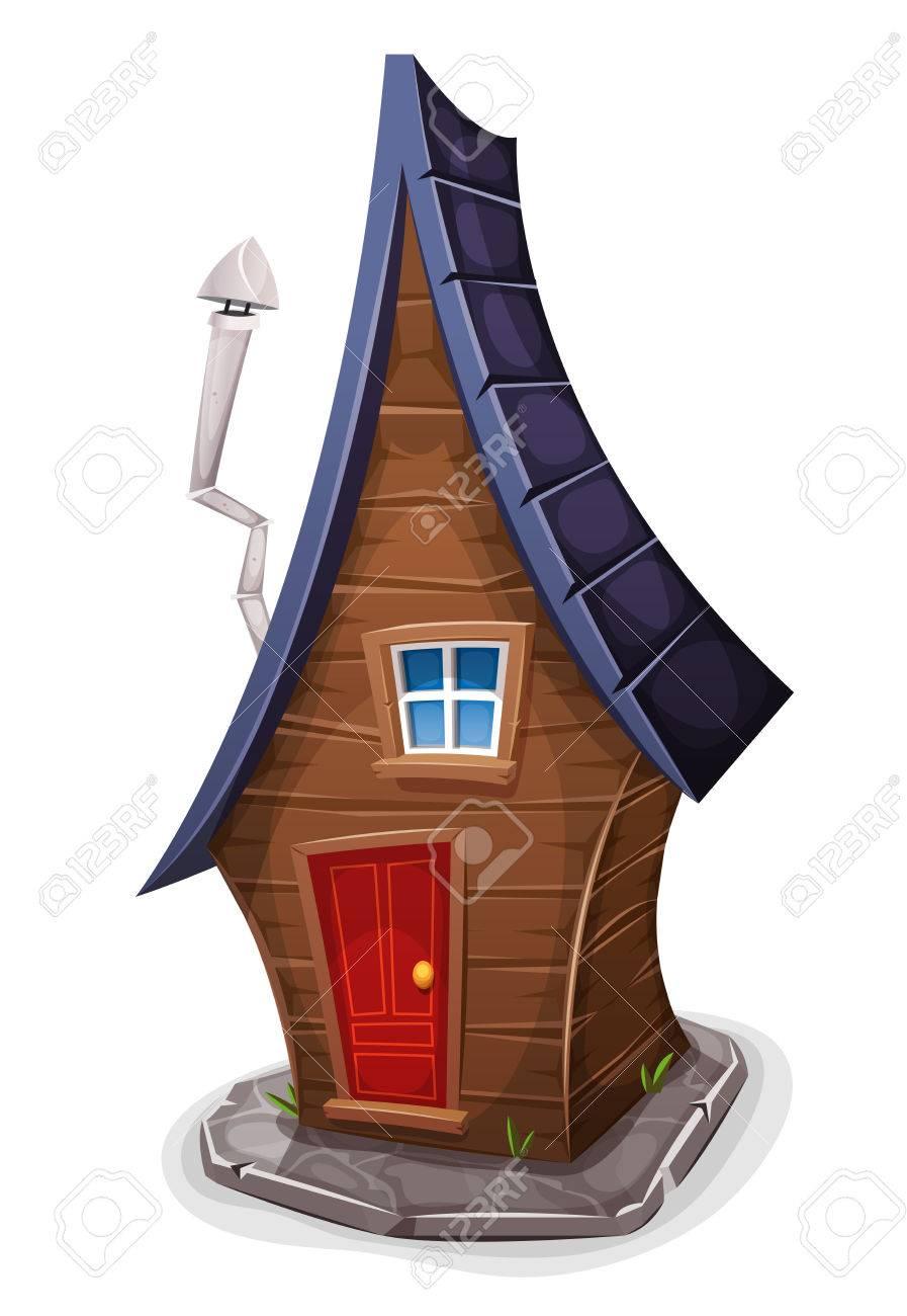 Ilustracion De Una Casa De Madera De Dibujos Animados Divertido Con