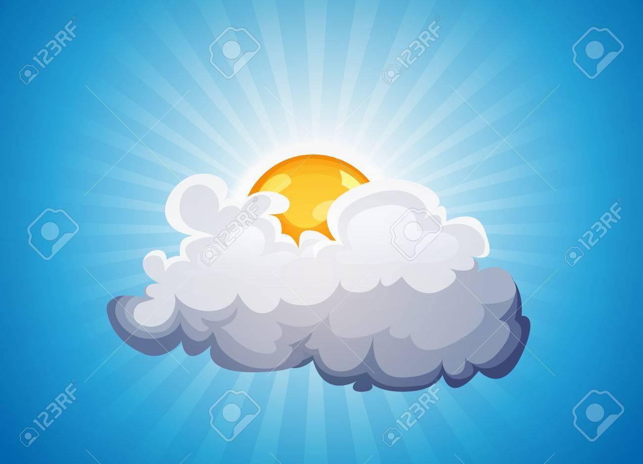 Ilustración De Un Fondo De Cielo Dibujos Animados Con El Sol Que