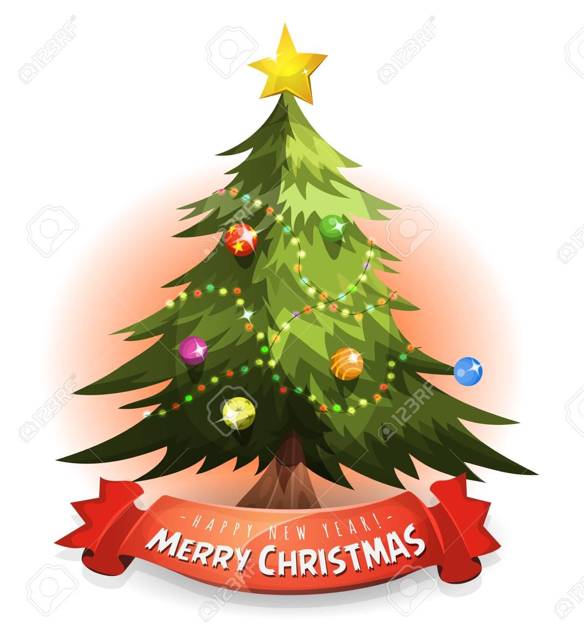 Illustration Einer Karikatur Frohe Weihnachtsbaum, Mit Wünschen Und ...