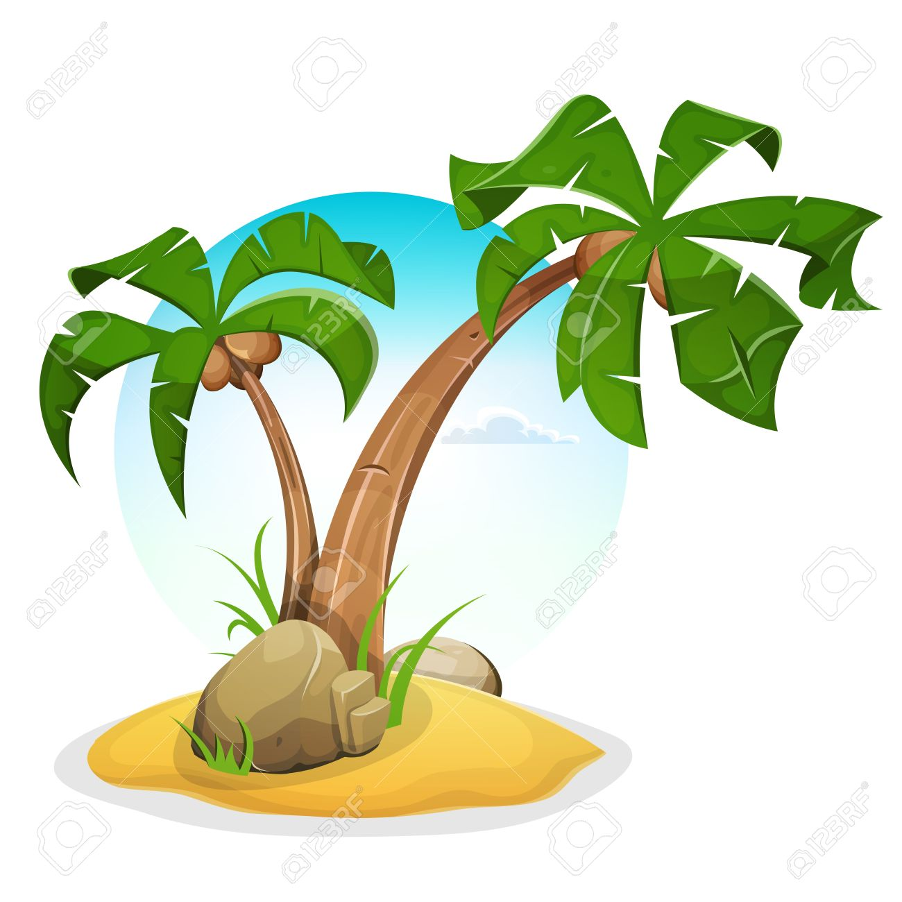 Illustration Of Cartoon Palm Trees On Tropical Island Beach With Summer Sky Background Stock