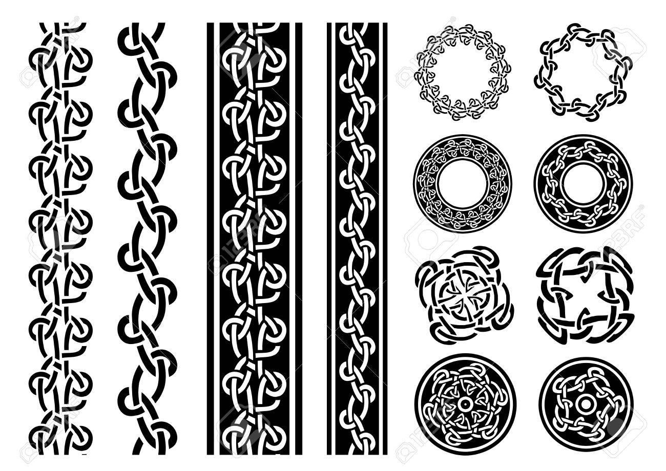Ilustracion De Un Conjunto De Lineas Blancas Y Negras Celticas Sin