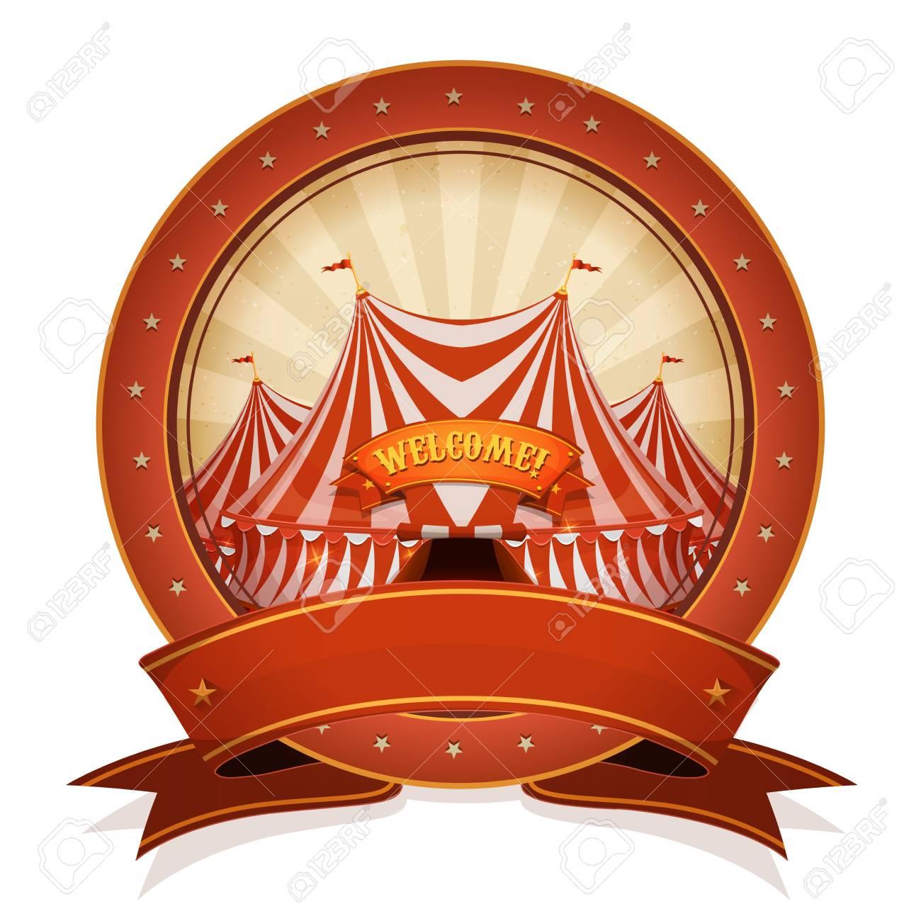 Ilustración De Una Insignia Retro Y Vintage Cartel De Circo, Con ...