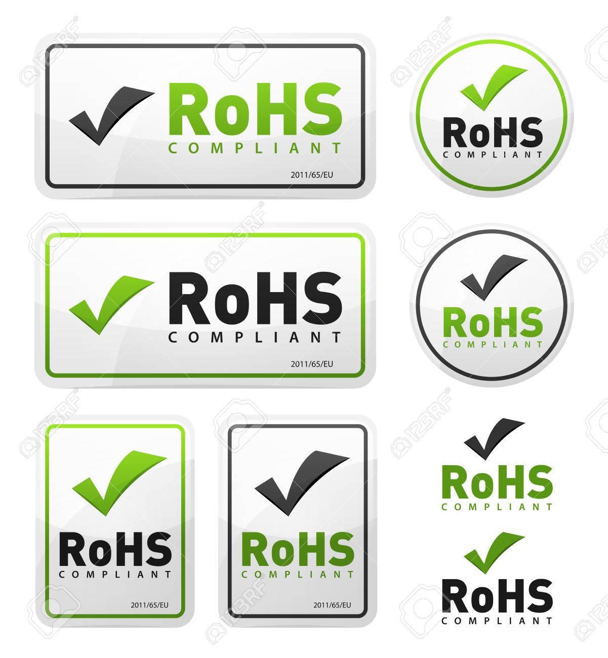 Illustration of a set of rohs compliant certificate signs, illustrating european union directive on hazardous substances - 79659006