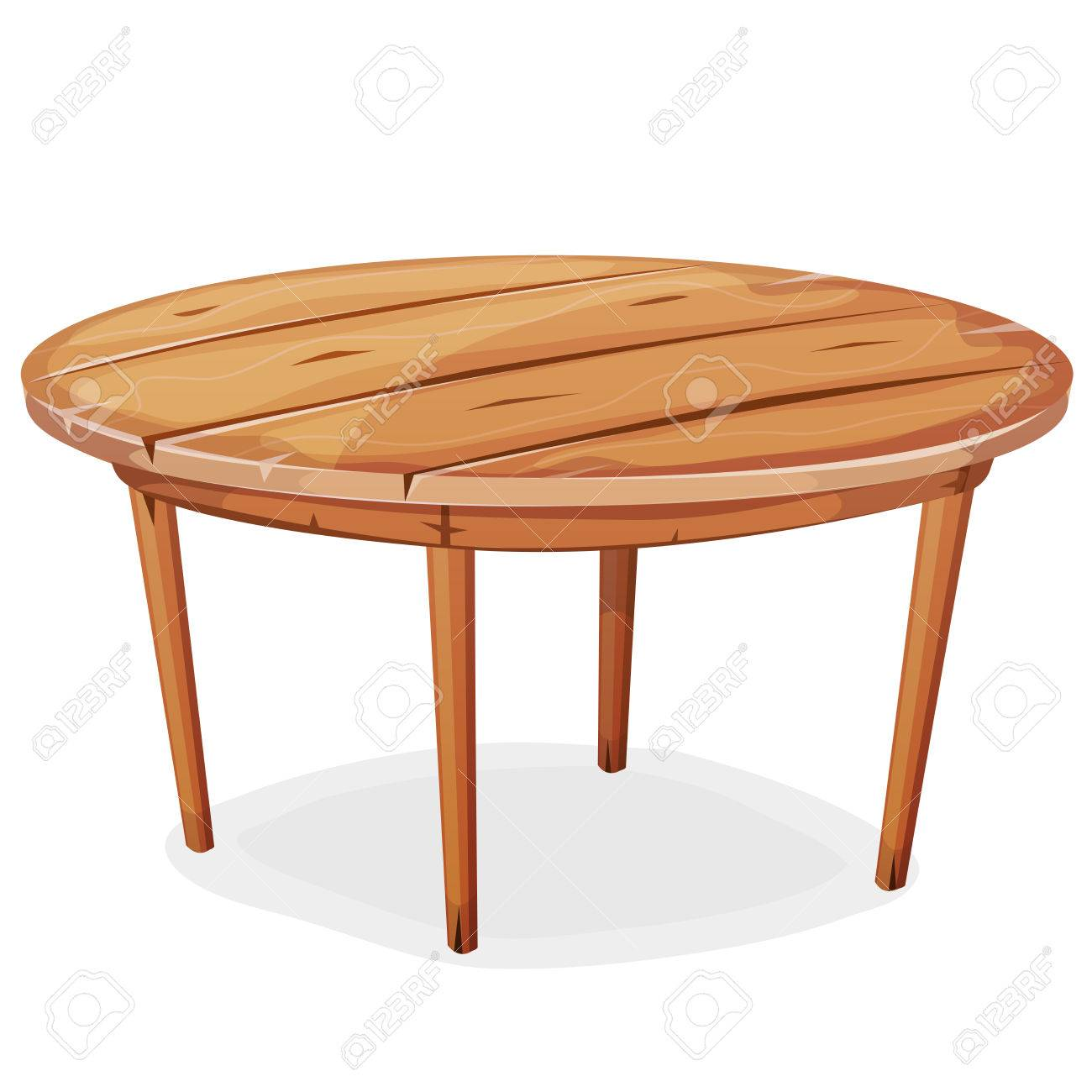 Illustration Of A Cartoon Funny Rounded Wooden Kitchen Or Garden ...