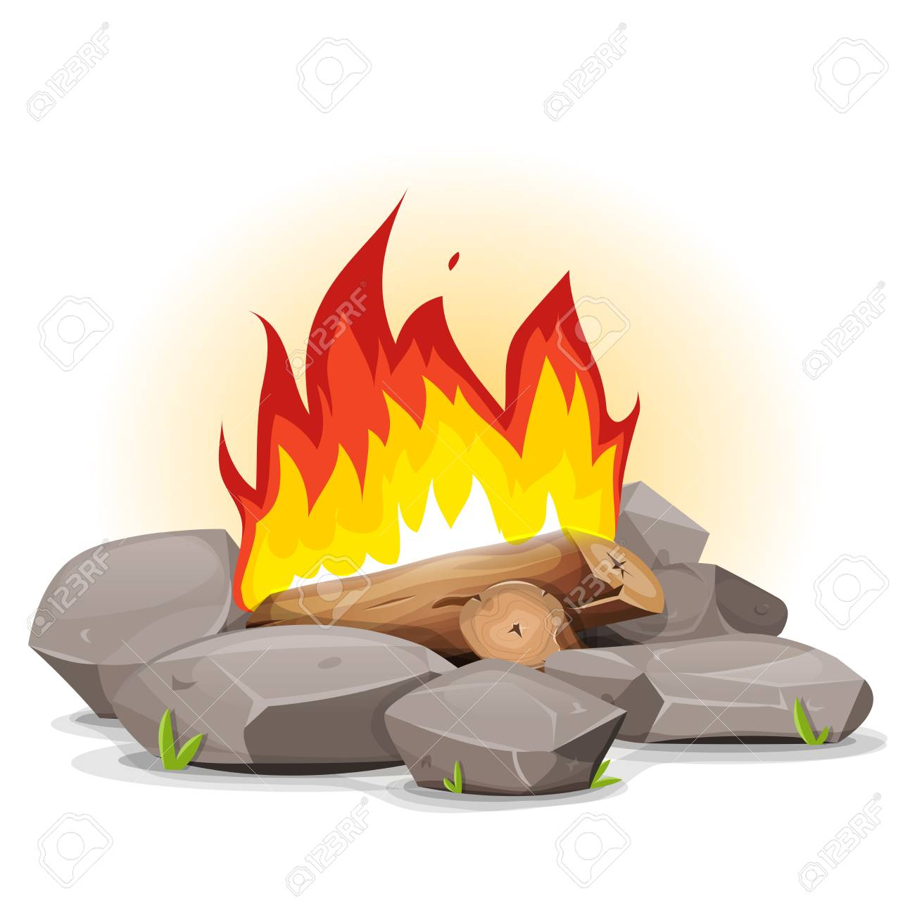 illustration of a cartoon campfire with burning flames and stones rh 123rf com campfire cartoon clipart campfire action songs