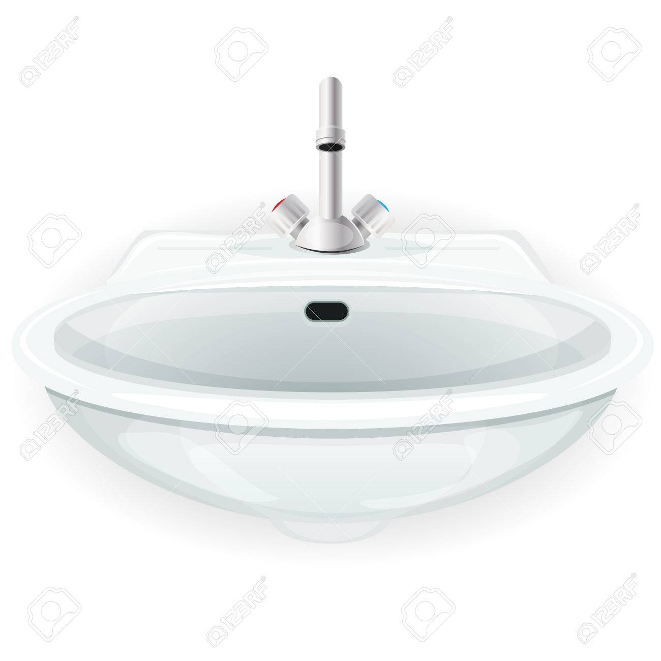 Illustration Of A White Cartoon Domestic Home Sink, With Tap ...