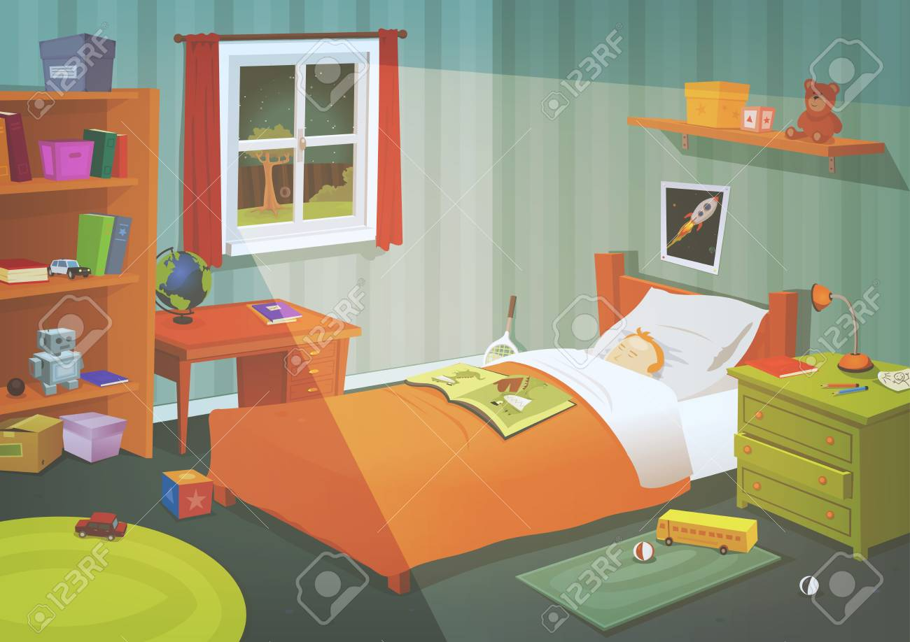 Illustration of a cartoon kid or teenager bedroom with boy sleeping in the night, containing lifestyle elements, toys, bed, books, desk, bookshelf, and accessories in mess - 88221141