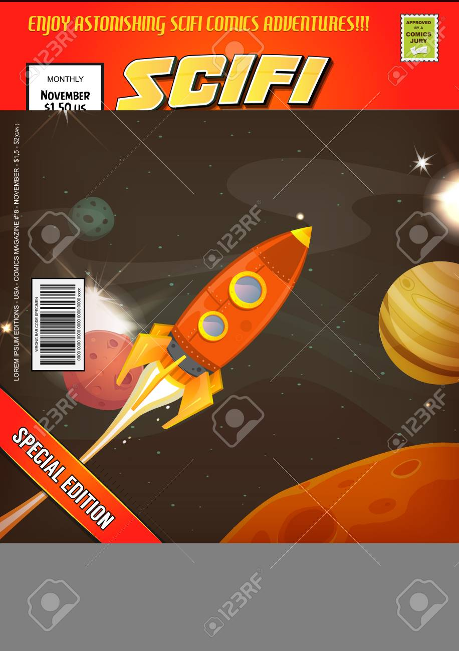 Cartoon science fiction comic book cover template