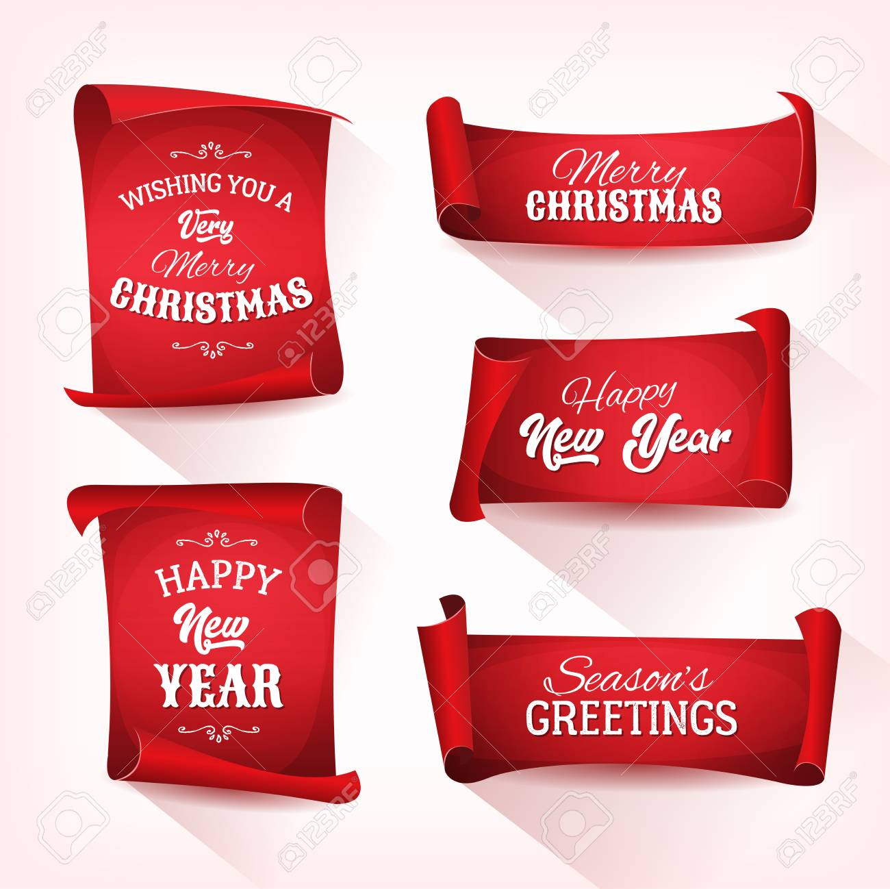 illustration of a set of christmas and happy new year banner on red parchment scroll