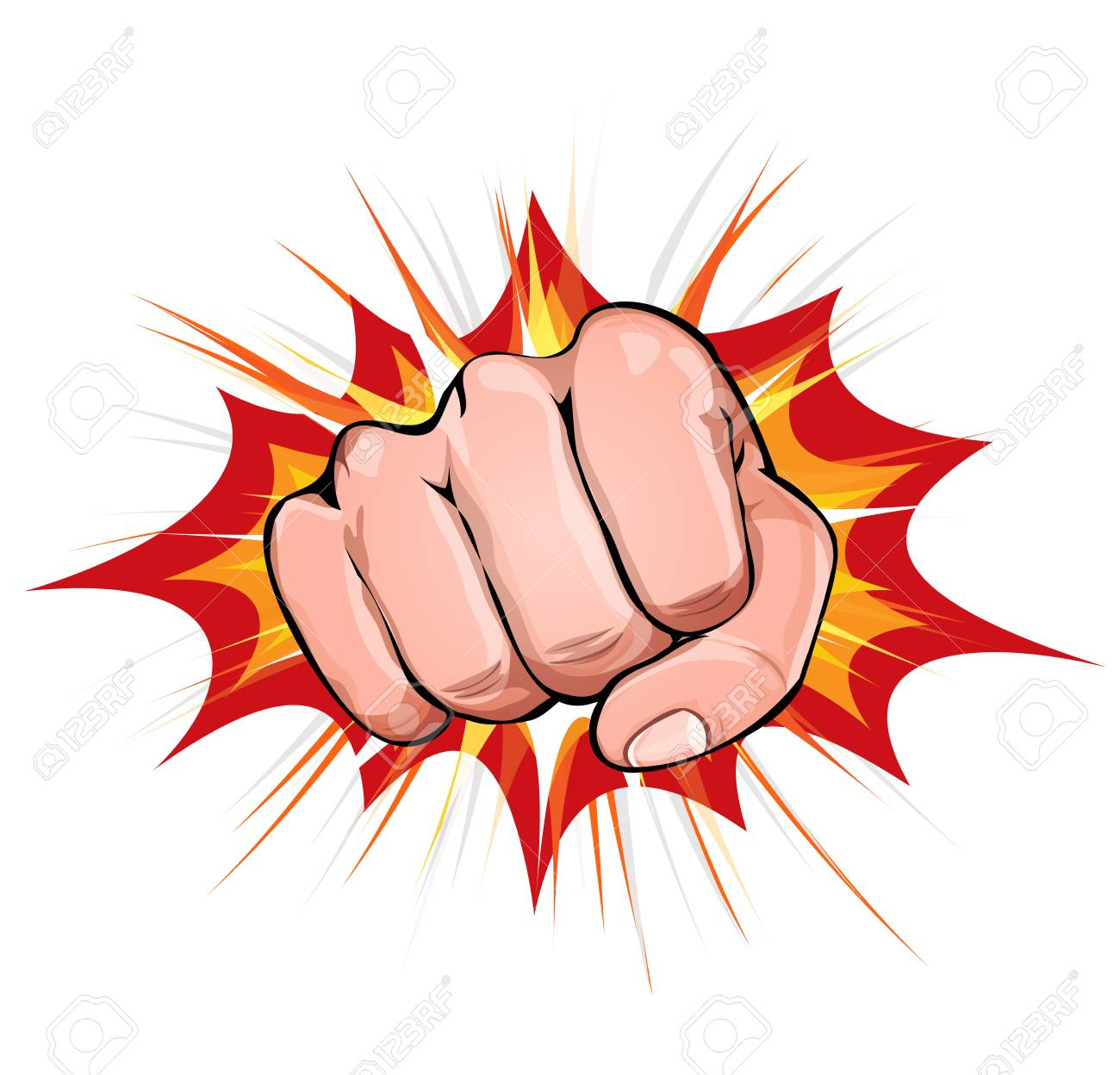 Illustration Of A Powerful Fist Punching On Explosion Background Royalty Free Cliparts Vectors And Stock Illustration Image 89253092
