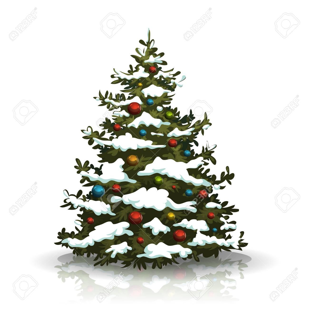 Foto Di Un Albero Di Natale.Illustrazione Di Un Albero Di Pino Di Natale Isolato Su Priorita Bassa Bianca Con La Decorazione Delle Sfere E Neve Dell Inverno Sul Suo Ramo