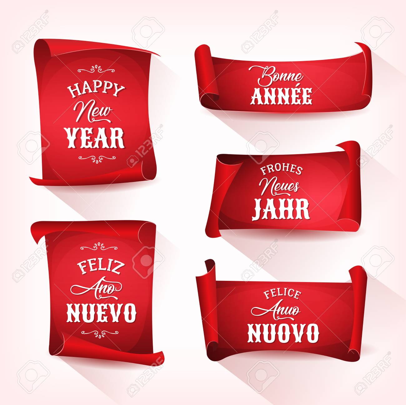 Illustration of a set of happy new year wishes with lettering and illustration of a set of happy new year wishes with lettering and ornamental text in m4hsunfo