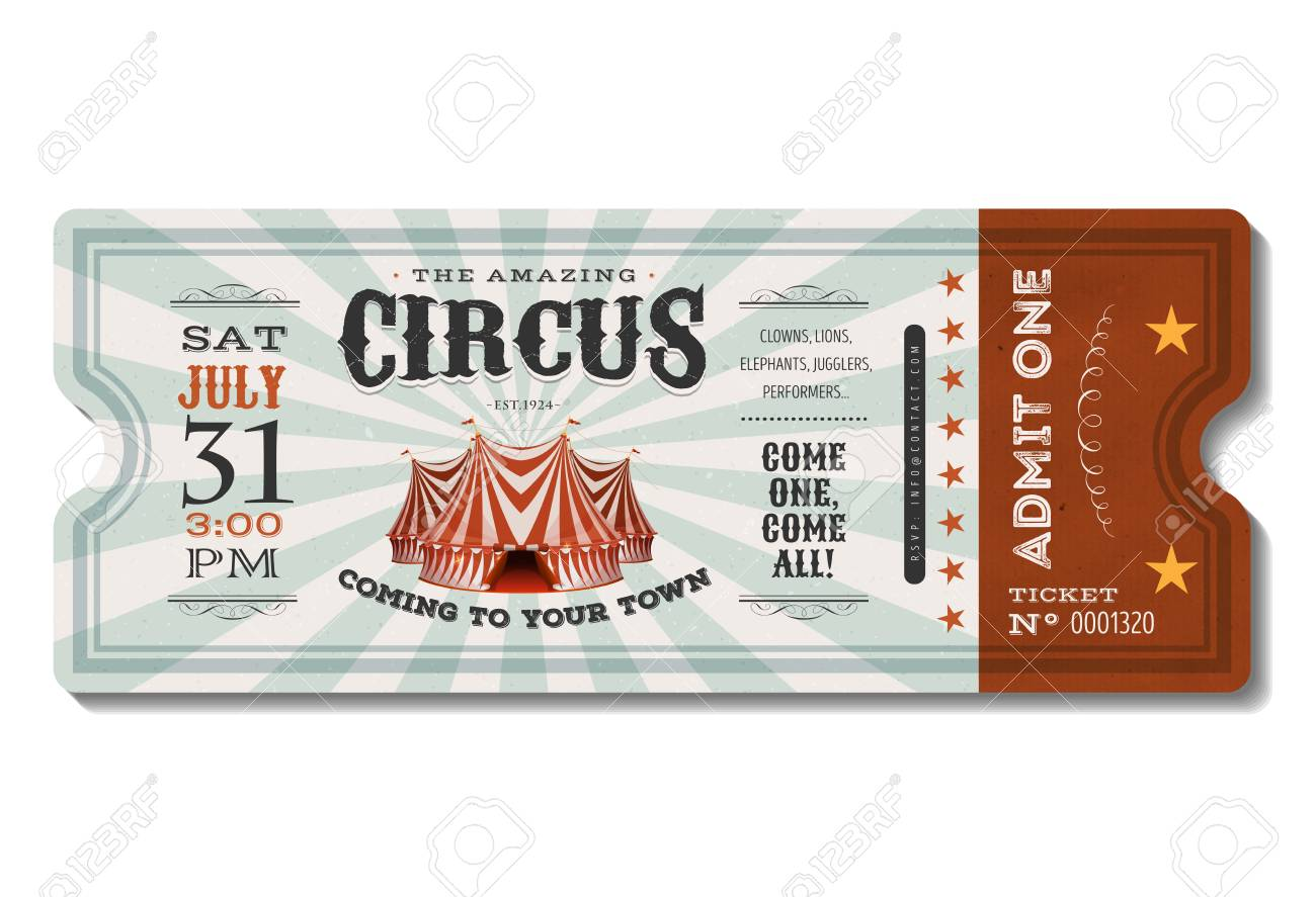 illustration of a vintage and retro design circus ticket with