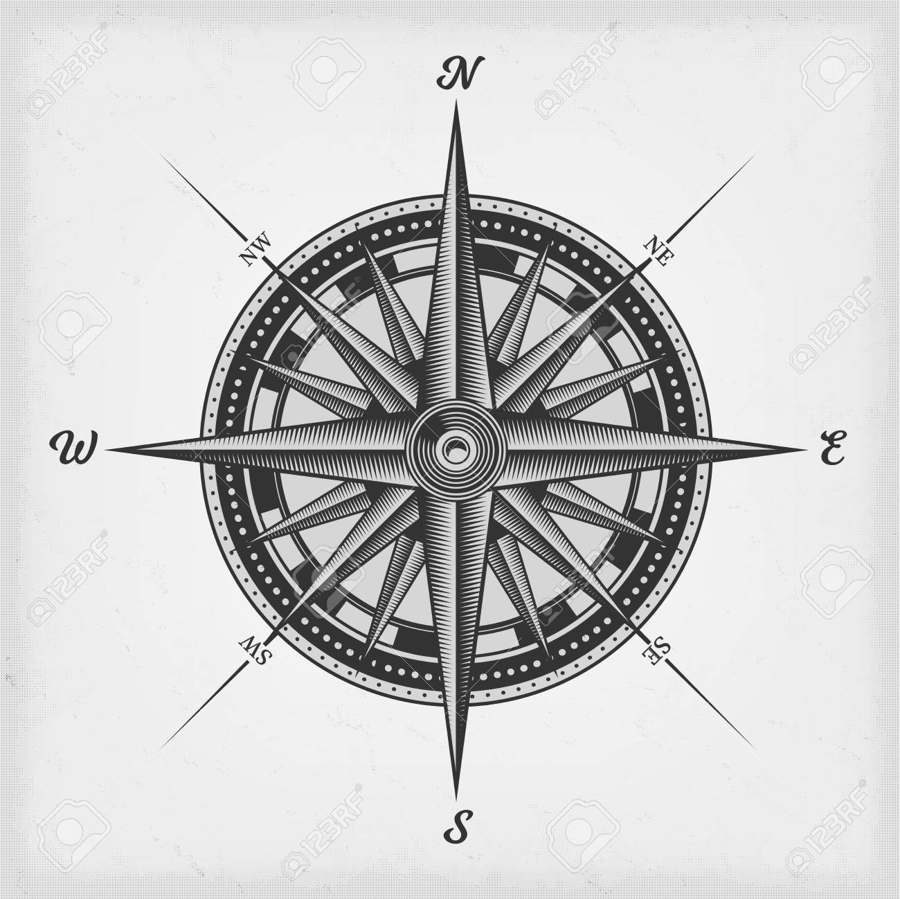 illustration of a black and white nautical compass rose on vintage