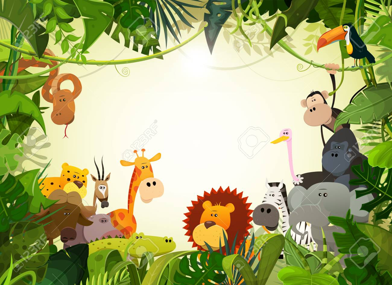 Illustration of cute cartoon wild animals from african savannah, including hippo, lion, gorilla, elephant, giraffe, gazelle, ostrich and zebra with jungle background - 98515166