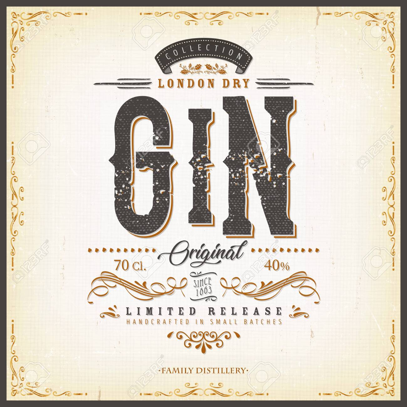Illustration of a vintage design elegant london dry gin label, with crafted lettering, specific product mentions, textures and hand drawn patterns - 138430318