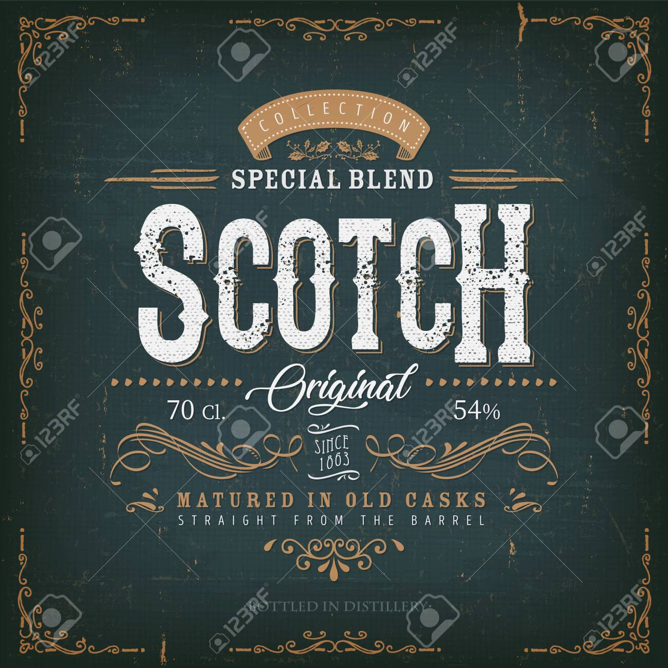 Illustration of a vintage design elegant whisky label, with crafted letterring, specific product mentions, textures and celtic patterns, on blue and gold background - 138430319