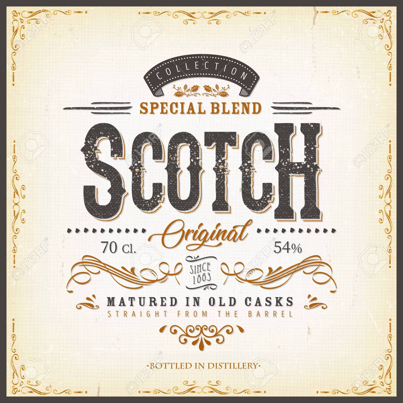 Illustration of a vintage design elegant whisky label, with crafted letterring, specific product mentions, textures and celtic patterns, on blue and gold background - 136127492
